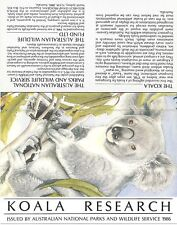 Australia Koala Research Souvenir Sheet, Wildlife Cinderella - Mnh 1986*
