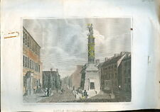 c1840s hand tinted engraving Baltimore MD Monument Goodacre Archer & Boilly