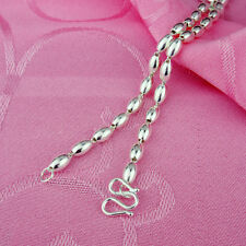 New Authentic 990 Sterling Silver 3mm Oval Bead Link Chain Necklace 50cm