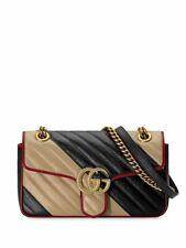 GG Gucci Marmont Medium Black Gold Chain Shoulder Bag