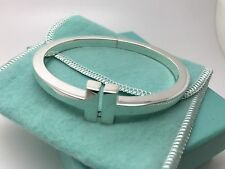 Tiffany Co Sterling Silver T Cuff Square Hinged Bangle Bracelet