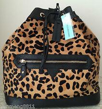 NWT Aqua Madonna black leather calf hair backpack purse bag brown tote satchel