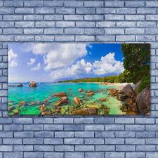 Acrylglasbilder Wandbilder Druck 140x70 Meer Steine Bäume Landschaft