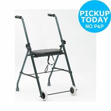 Lightweight Walking Frame Aid Indoor Mobility Support Folding Seat Two Wheel