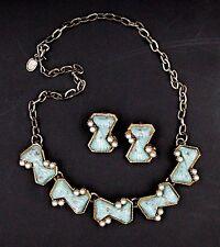 Vintage Faux Turquoise Pearl Necklace Earrings Demi Set