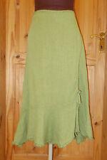 PER UNA M&S lime pea green LINEN asymmetric midi calf long riding skirt 14L 42