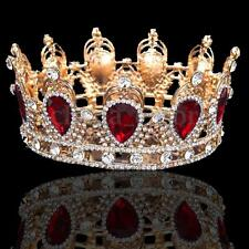 Antique 6cm High Sparkling Crystal Gold King Crown Wedding Prom Pageant USA
