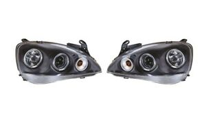 Vauxhall Corsa C 2000 - 2006 Black Angel Eye Halo Projector Headlights - 1 Pair