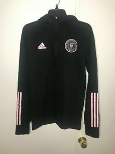 Adidas Mens Inter Miami CF Travel Quarter Zip Black Jacket Hoodie  FI1508