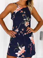 Yoins Dark Blue Floral Print Mini Dress Large TD094 CC 19