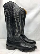 "Nocona 13"" Tall Vamp Black Leather Classic Cowboy Western Boot MINT USA Sz 12 B"