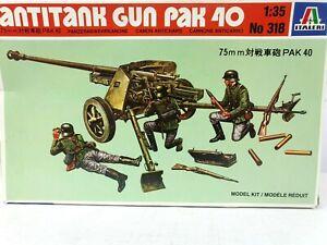 ITALERI 318 Antitank Gun Pak 40 1:35 Plastic Scale Model Kit WWII 1994 Edition