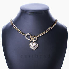 Gold Flat Chain Bling Rhinestone Heart Love Toggle Clasp Pendant Necklace Gift