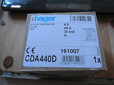FI-SCHUTZSCHALTER HAGER 4POLIG 40A CDA440D Hager  NEU ! OVP !
