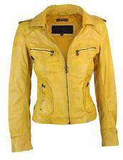 Ladies Real Leather Yellow Biker Style Fashion Jacket Size UK 6-18