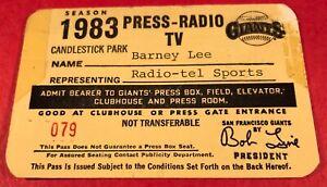 1983 SF Giants Pass Ticket Willie Mays/Bill Terry/Juan Marichal Retire Jersey
