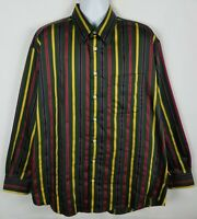 Burberry London Shirt Mens XL Long Sleeve Button Front Cotton Striped USA