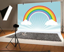 7x5' Background Photo Backdrop Studio Props Birthday Rainbow Light Blue Stripes
