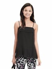 NWT Banana Republic Pleated Chiffon Cami, Black, Size M