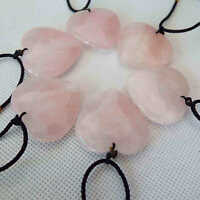 5Pcs Natural Pink Love Heart Rose Quartz Crystal Pendant Necklace Chakra Healing