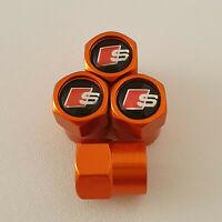 AUDI S LINE metal Orange Valve Dust caps all models Lot Colours TT RS S3 S5 RS6