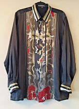 "SPARK MANSHOP GORGEOUS Men's Hand Painted Thick Silk Batik Art Shirt 50"" XL XXL"