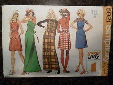 Simplicity 5021 Super Jiffy Back Wrap Dress/Jumper 1972 Pattern small 8/10 Cut