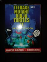 1991 Topps Ninja Turtles The Movie 2 Non X Out Box 36 Packs With Display Poster