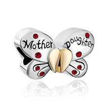 2Pcs/set Mother Daughter Butterfly Charm Spacer Beads Fit Necklace Bracelet Red