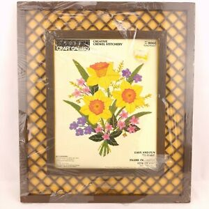 Paragon Craft Gallery 8066 Spring Bouquet Crewel Embroidery & Frame MISSING YARN