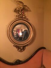 Antique Federal Period Eagle Convex Mirror Carved Giltwood Lion Monumental 1840