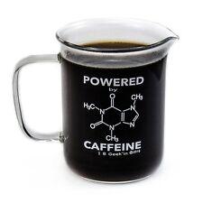Premium Laboratory Beaker Mug - Powered By Caffeine Borosilicate Glass 14oz New