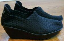 Bm Bernie Mev Shoes Black Woven 9 Wedge Heel 40 Slip On Women's
