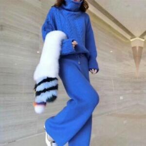 Women Twist Wool Sweater Loose Wide-leg Pants 2Pcs Suit Winter Knitted High-Neck