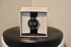 NEW! Fossil Garrett HR Gen 5 46mm Silver Case Black Silicone Strap Smart Watch