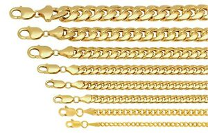 "10k Yellow Gold Miami Cuban Link Chain Necklace Bracelet 2mm-7.5mm Size 7""-30"""