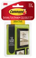 Command Strips 17206-BLK-12ES Large Black Picture Hanging Strips 12 Set Value Pa