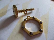 Gold Nut & Bolt Toggle Clasp Set with Gunmetal Rhinestones - Qty 2 Sets