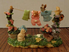 "Westland Giftware 3"" figurine -- Playful Cats with Laundry Line -- Item #5706"