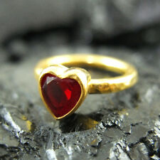Handmade Designer Hammered Band Heart Ruby Ring Yellow Gold over Sterling Silver