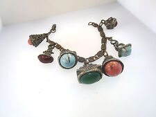 """STEAM PUNK HANGING METAL EMBOSSED ART CHARMS w/ASSORTED STONES & AGATE CABS 7"""" l"""