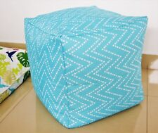 Aqua Pouf / ottoman WATERPROOF IN/ OUTDOOR, Chevron, Zig Zag, Turquoise, Blue