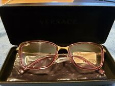 Versace Mod 1243 1402 Eyeglass frames Violet Transparent Pale Gold 52 17 140 New