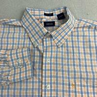 Izod Button Up Shirt Mens XL Easy Care Blue Orange Long Sleeve