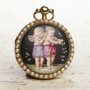 GOLD Pearls Enamel Verge Fusee Antique Pocket Watch MONTRE COQ SpindelTaschenuhr