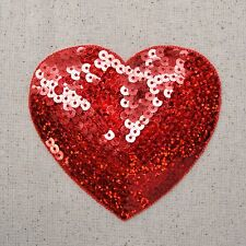 "XL Red 4"" Sequin Heart - Valentine's Day - Iron on Applique/Embroidered Patch"