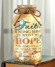 Lighted Mason Glass Jar Faith Hope Hebrews Scripture Rustic Country Home Decor