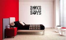 BOYS WILL BE BOYS CARS LETTERING DECAL VINYL DECOR STICKER ROOM KIDS CHILDREN