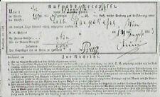 1863 Austrian Receipt (Bilingual) for Services Between Vienna and Prague