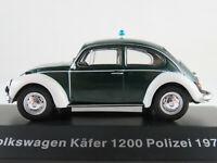 """DeAGOSTINI #28 VW Käfer 1200 (1971) """"POLIZEI"""" in grün/weiß 1:43 NEU/PC-Vitrine"""